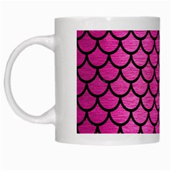 Scales1 Black Marble & Pink Brushed Metal White Mugs by trendistuff
