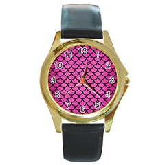 Scales1 Black Marble & Pink Brushed Metal Round Gold Metal Watch by trendistuff