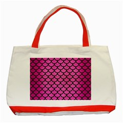 Scales1 Black Marble & Pink Brushed Metal Classic Tote Bag (red)