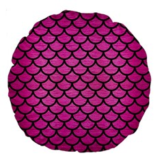 Scales1 Black Marble & Pink Brushed Metal Large 18  Premium Round Cushions by trendistuff