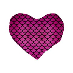 Scales1 Black Marble & Pink Brushed Metal Standard 16  Premium Flano Heart Shape Cushions by trendistuff