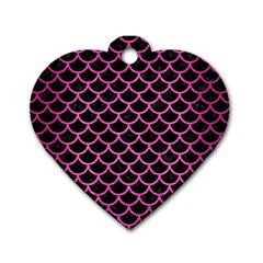 Scales1 Black Marble & Pink Brushed Metal (r) Dog Tag Heart (one Side) by trendistuff