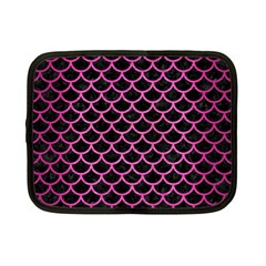 Scales1 Black Marble & Pink Brushed Metal (r) Netbook Case (small)  by trendistuff
