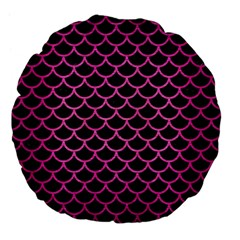Scales1 Black Marble & Pink Brushed Metal (r) Large 18  Premium Flano Round Cushions by trendistuff
