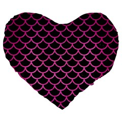 Scales1 Black Marble & Pink Brushed Metal (r) Large 19  Premium Flano Heart Shape Cushions by trendistuff