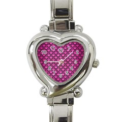 Scales2 Black Marble & Pink Brushed Metal Heart Italian Charm Watch by trendistuff