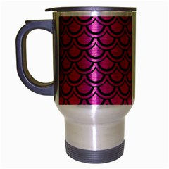 Scales2 Black Marble & Pink Brushed Metal Travel Mug (silver Gray) by trendistuff