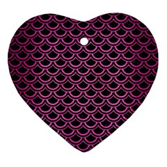 Scales2 Black Marble & Pink Brushed Metal (r) Ornament (heart) by trendistuff