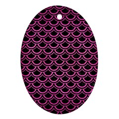 Scales2 Black Marble & Pink Brushed Metal (r) Oval Ornament (two Sides) by trendistuff