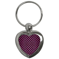 Scales3 Black Marble & Pink Brushed Metal (r) Key Chains (heart)  by trendistuff