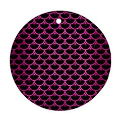 Scales3 Black Marble & Pink Brushed Metal (r) Round Ornament (two Sides) by trendistuff