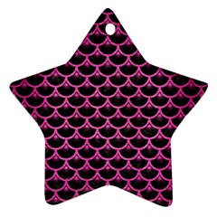 Scales3 Black Marble & Pink Brushed Metal (r) Star Ornament (two Sides) by trendistuff
