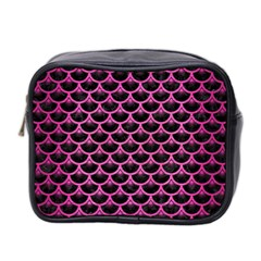 Scales3 Black Marble & Pink Brushed Metal (r) Mini Toiletries Bag 2 Side by trendistuff