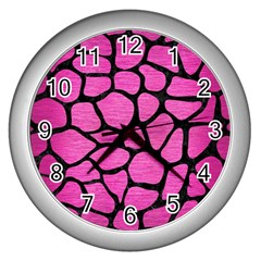 Skin1 Black Marble & Pink Brushed Metal (r) Wall Clocks (silver)  by trendistuff