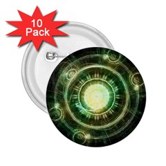 Green Chaos Clock, Steampunk Alchemy Fractal Mandala 2 25  Buttons (10 Pack)  by jayaprime
