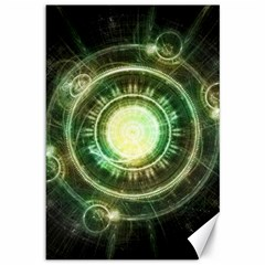 Green Chaos Clock, Steampunk Alchemy Fractal Mandala Canvas 12  X 18   by jayaprime