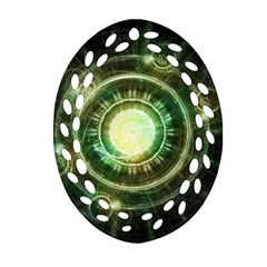 Green Chaos Clock, Steampunk Alchemy Fractal Mandala Oval Filigree Ornament (two Sides) by jayaprime