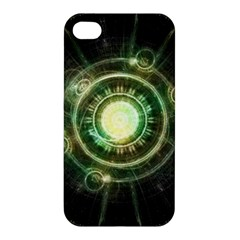 Green Chaos Clock, Steampunk Alchemy Fractal Mandala Apple Iphone 4/4s Premium Hardshell Case by jayaprime