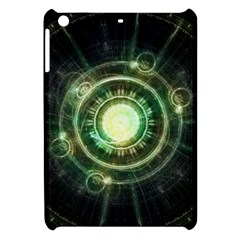 Green Chaos Clock, Steampunk Alchemy Fractal Mandala Apple Ipad Mini Hardshell Case by jayaprime