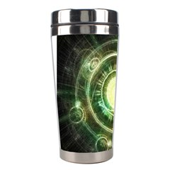 Green Chaos Clock, Steampunk Alchemy Fractal Mandala Stainless Steel Travel Tumblers by jayaprime