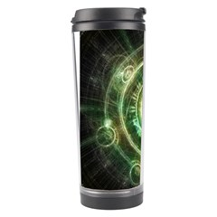 Green Chaos Clock, Steampunk Alchemy Fractal Mandala Travel Tumbler by jayaprime