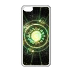 Green Chaos Clock, Steampunk Alchemy Fractal Mandala Apple Iphone 5c Seamless Case (white) by jayaprime