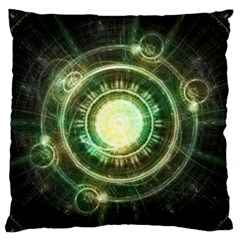 Green Chaos Clock, Steampunk Alchemy Fractal Mandala Large Flano Cushion Case (two Sides) by jayaprime