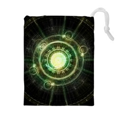 Green Chaos Clock, Steampunk Alchemy Fractal Mandala Drawstring Pouches (extra Large) by jayaprime