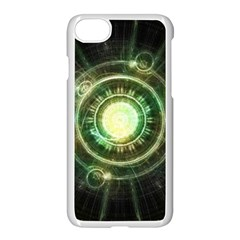 Green Chaos Clock, Steampunk Alchemy Fractal Mandala Apple Iphone 8 Seamless Case (white) by jayaprime