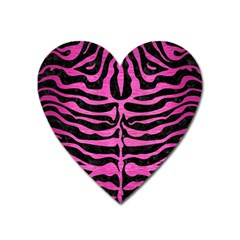 Skin2 Black Marble & Pink Brushed Metal (r) Heart Magnet by trendistuff