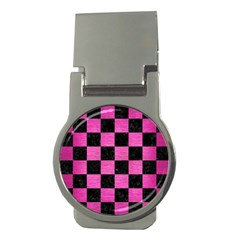 Square1 Black Marble & Pink Brushed Metal Money Clips (round)  by trendistuff