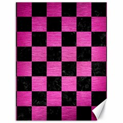 Square1 Black Marble & Pink Brushed Metal Canvas 18  X 24   by trendistuff