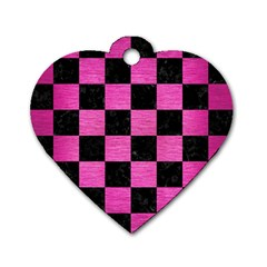 Square1 Black Marble & Pink Brushed Metal Dog Tag Heart (one Side) by trendistuff