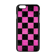 Square1 Black Marble & Pink Brushed Metal Apple Iphone 6/6s Black Enamel Case by trendistuff
