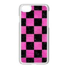 Square1 Black Marble & Pink Brushed Metal Apple Iphone 7 Seamless Case (white) by trendistuff