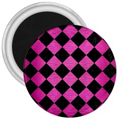 Square2 Black Marble & Pink Brushed Metal 3  Magnets by trendistuff