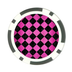 Square2 Black Marble & Pink Brushed Metal Poker Chip Card Guard by trendistuff