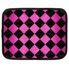 Square2 Black Marble & Pink Brushed Metal Netbook Case (large)