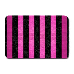 Stripes1 Black Marble & Pink Brushed Metal Plate Mats by trendistuff