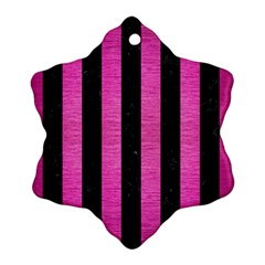 Stripes1 Black Marble & Pink Brushed Metal Snowflake Ornament (two Sides) by trendistuff