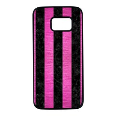 Stripes1 Black Marble & Pink Brushed Metal Samsung Galaxy S7 Black Seamless Case by trendistuff