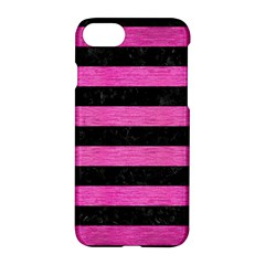 Stripes2 Black Marble & Pink Brushed Metal Apple Iphone 8 Hardshell Case by trendistuff