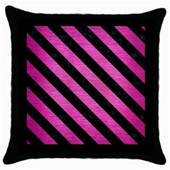 Stripes3 Black Marble & Pink Brushed Metal Throw Pillow Case (black) by trendistuff