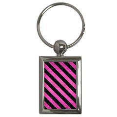 Stripes3 Black Marble & Pink Brushed Metal Key Chains (rectangle)  by trendistuff