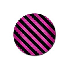 Stripes3 Black Marble & Pink Brushed Metal Rubber Round Coaster (4 Pack)  by trendistuff