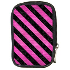 Stripes3 Black Marble & Pink Brushed Metal Compact Camera Cases by trendistuff