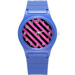 Stripes3 Black Marble & Pink Brushed Metal Round Plastic Sport Watch (s) by trendistuff