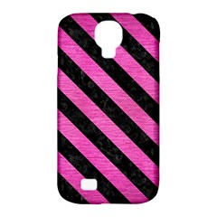 Stripes3 Black Marble & Pink Brushed Metal Samsung Galaxy S4 Classic Hardshell Case (pc+silicone) by trendistuff