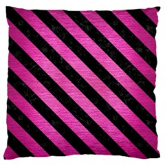 Stripes3 Black Marble & Pink Brushed Metal Large Flano Cushion Case (one Side) by trendistuff