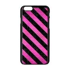Stripes3 Black Marble & Pink Brushed Metal Apple Iphone 6/6s Black Enamel Case by trendistuff